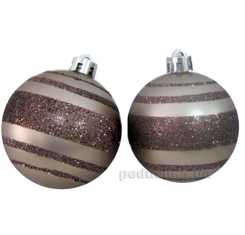Набор елочных шаров Коричневые полосы Новогодько 971767