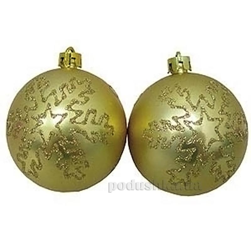 Набор елочных шаров Снежинка золото Новогодько 971598
