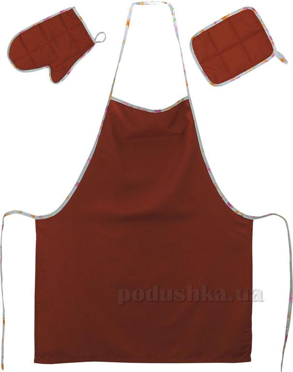 Набор фартук, прихватка и рукавица Руно 713Д бордовый