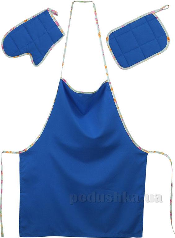 Набор фартук, прихватка и рукавица Руно 713Д синий