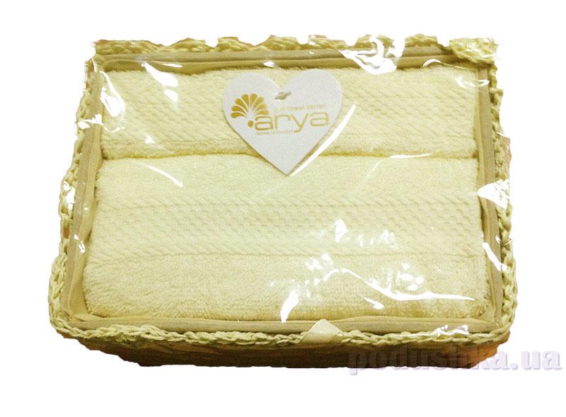 Набор из 2 махровых полотенец Arya Ricardo в коробке кремового цвета