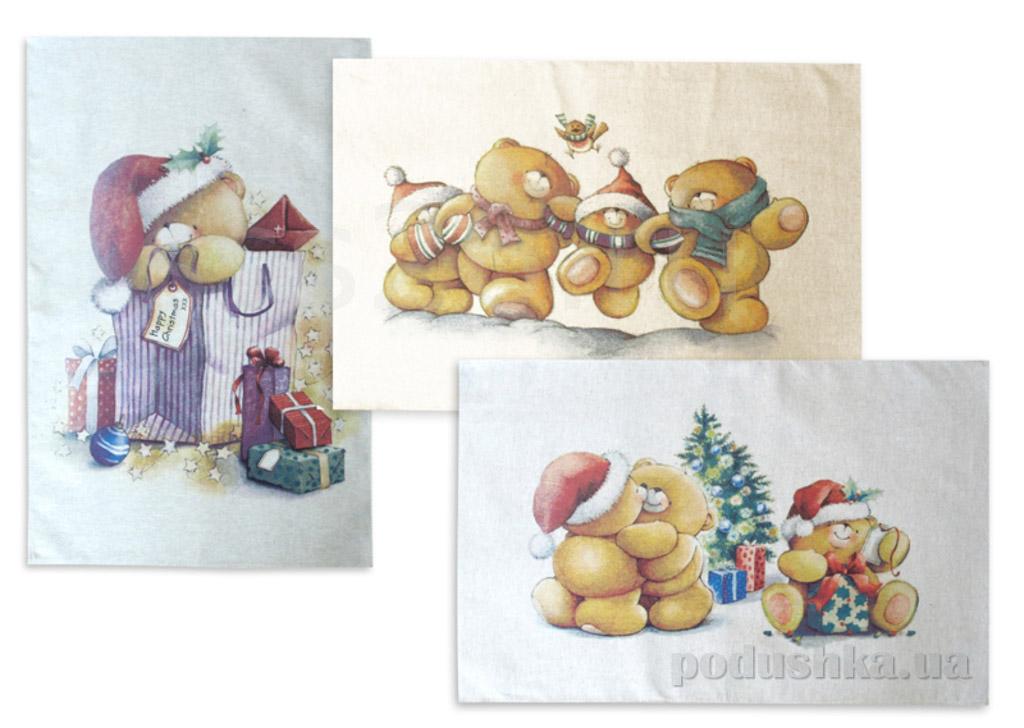 Набор из 3 кухонных полотенец Мишки 14с204 Белорусский лен