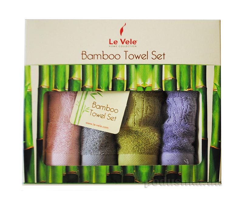 Набор из 4 махровых полотенец Le Vele Bamboo в коробке