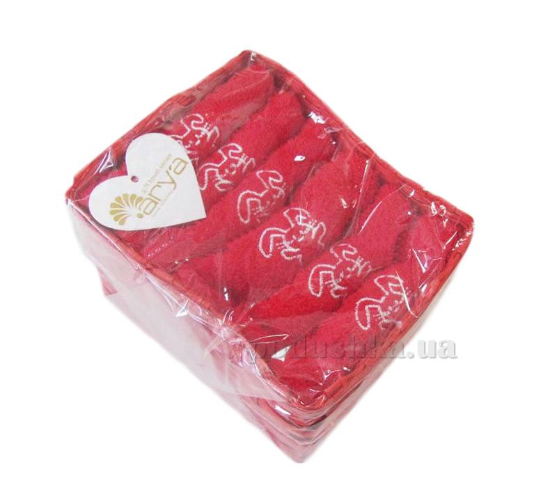 Набор из 6 махровых полотенец Arya Bunny красный