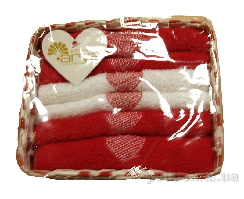 Набор из 6 махровых полотенец Arya Love story в красно-белой плетеной коробке
