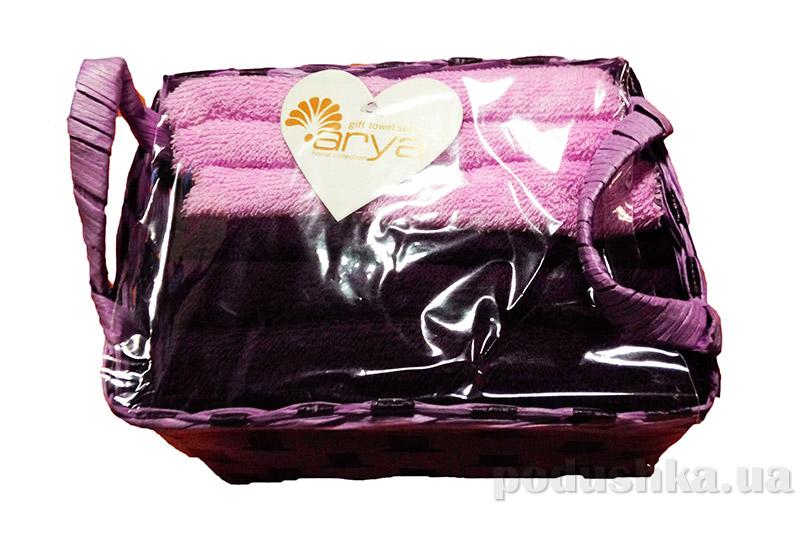 Набор из 6 махровых полотенец Arya Nicole в фиолетовой плетеной коробке с ручками