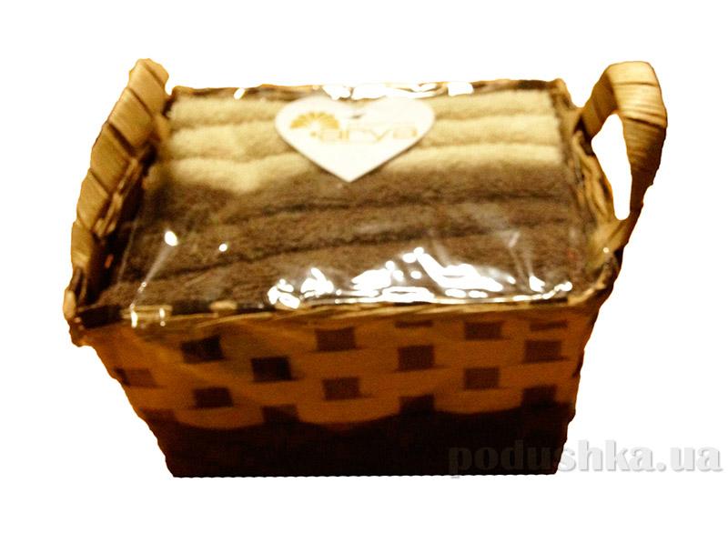 Набор из 6 махровых полотенец Arya Nicole в коричневой плетеной коробке с ручками