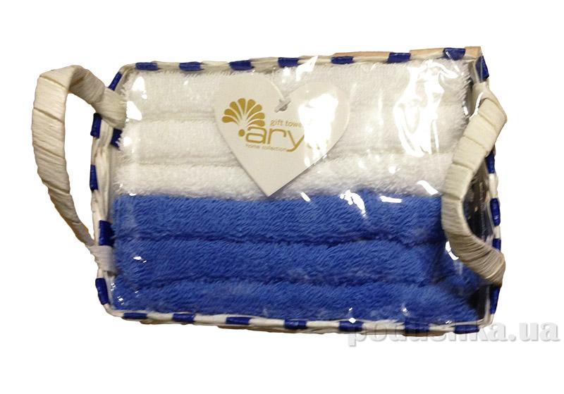 Набор из 6 махровых полотенец Arya Nicole в синей плетеной коробке с ручками