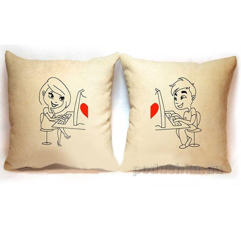 Набор из двух подушек Любовь в сети Slivki-09