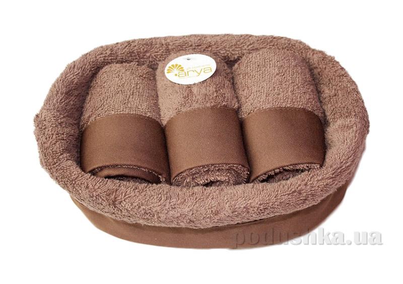 Набор из трех коричневых махровых полотенец Arya Таурус в плетеной коробке