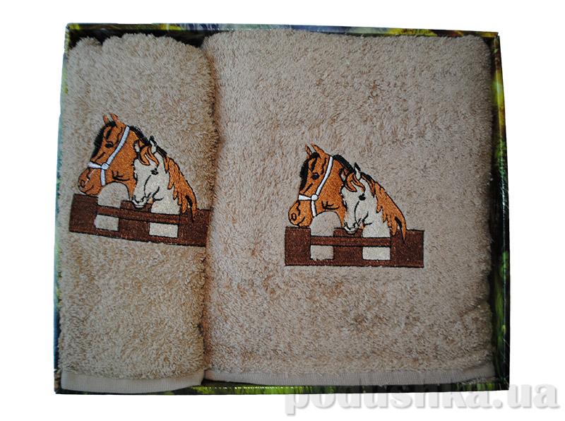 Набор коричневых махровых полотенец в коробке Megan Лошади