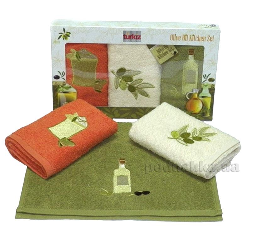 Набор кухонных полотенец Izzihome Turkiz Olive Oil оливка