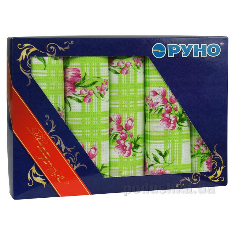 Набор кухонных вафельных полотенец Руно Салатовый тюльпан 5 шт
