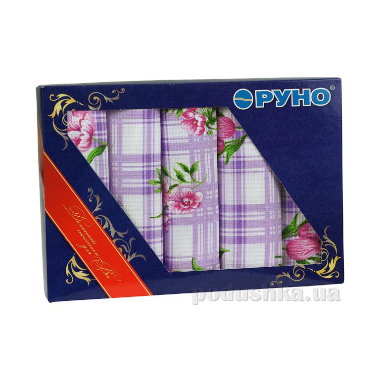 Набор кухонных вафельных полотенец Руно Сиреневый тюльпан 5 шт