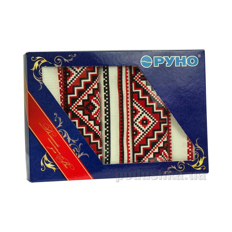 Набор кухонных вафельных полотенец Руно Украинский орнамент красный - 5 шт