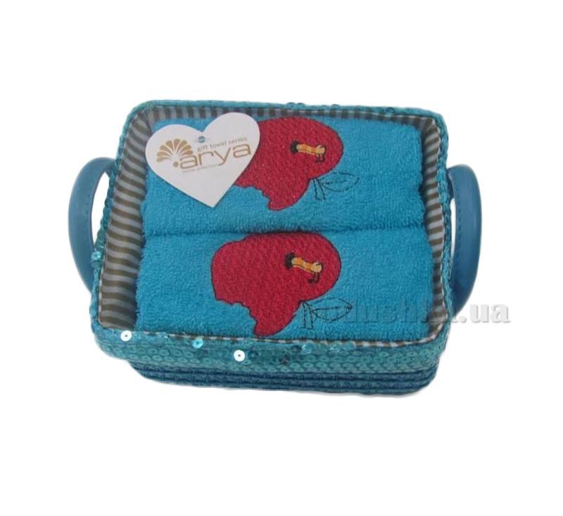 Набор махровых полотенец Arya Aple голубой