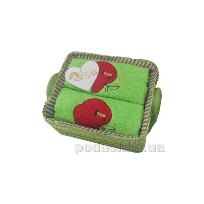 Набор махровых полотенец Arya Aple зелёный