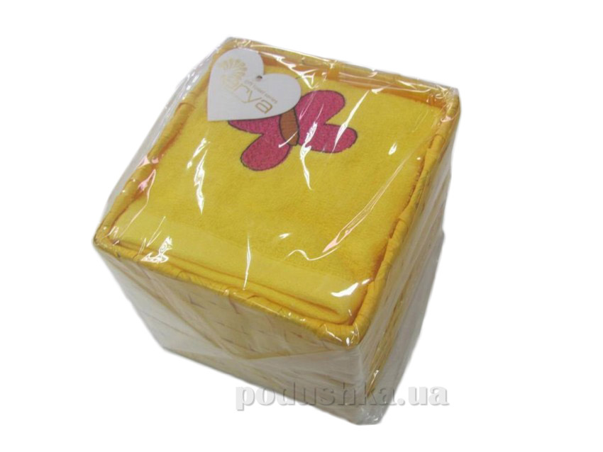 Набор махровых полотенец Arya Butterfly желтый 40х60 см - 4 шт ARYA