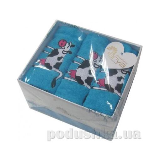 Набор махровых полотенец Arya Cow голубой 40х60 см - 3 шт ARYA