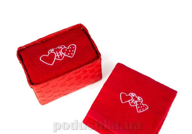 Набор махровых полотенец Arya Tree hearts красный