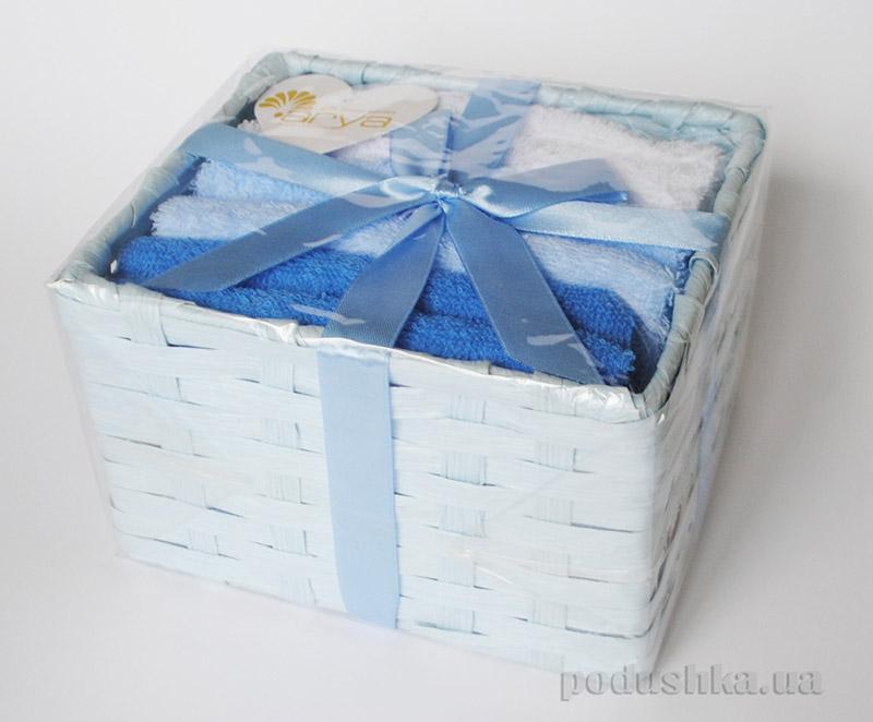 Набор махровых полотенец Arya Ванилин в коробке голубого цвета