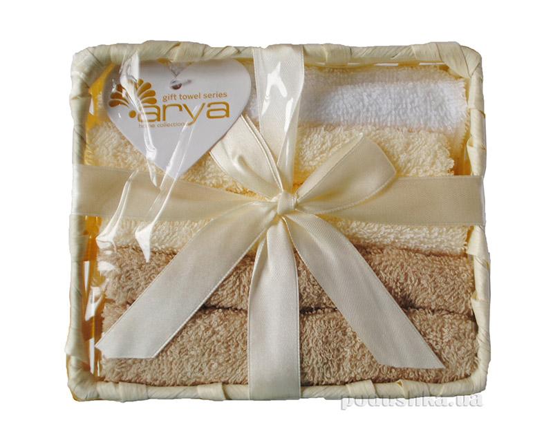 Набор махровых полотенец Arya Ванилин в коробке песочного цвета