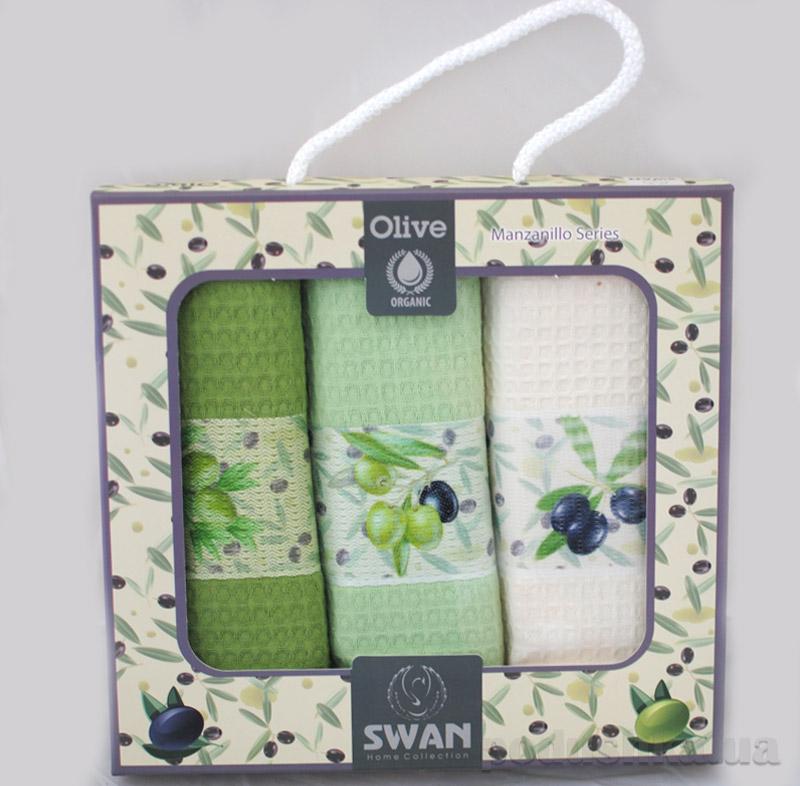 Набор махровых полотенец для кухни в коробке Олива
