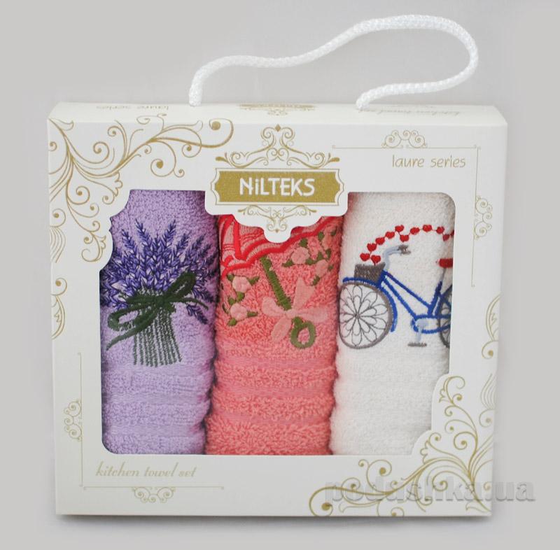 Набор махровых полотенец Велосипед-лаванда-зонтик