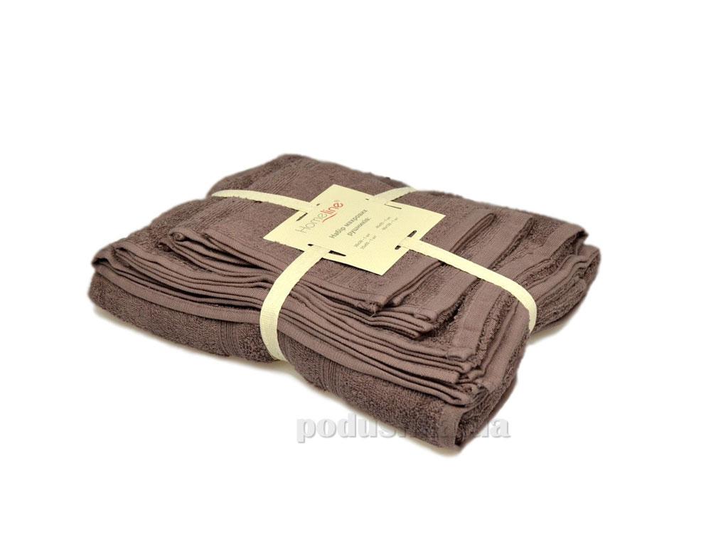 Набор махровых полотенец Home line Индия кофейный 4 шт