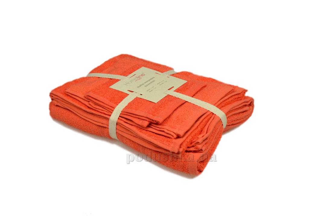 Набор махровых полотенец Home line Индия коралловый 3 шт