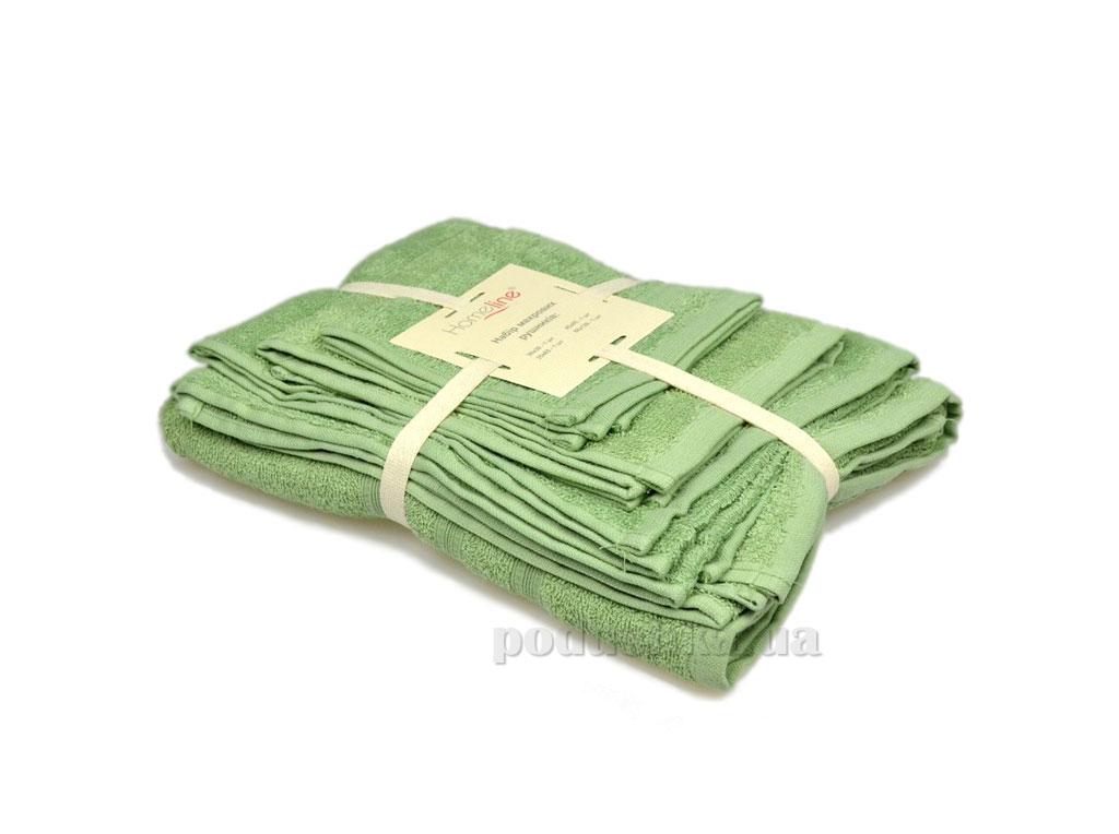 Набор махровых полотенец Home line Индия оливковый 4 шт
