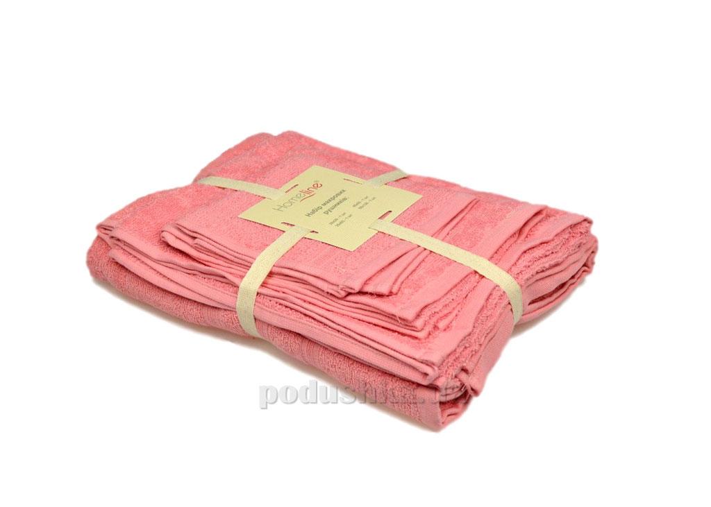 Набор махровых полотенец Home line Индия розовый 4 шт