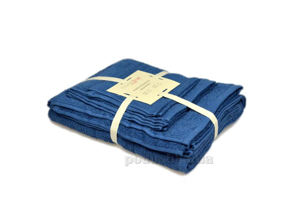 Набор махровых полотенец Home line Индия синий 3 шт