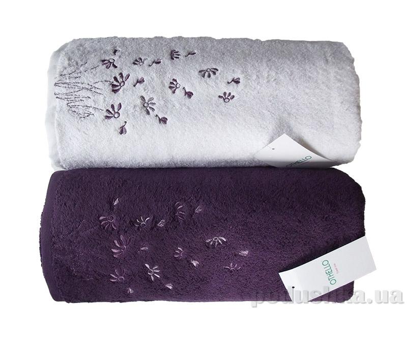 Набор махровых полотенец Othello Papatya белое и фиолетовое  разного размера