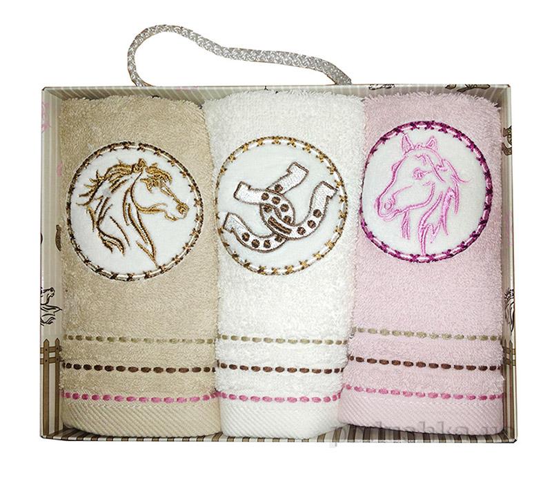 Набор махровых полотенец в коробке Altinbasak Лошадки с подковой