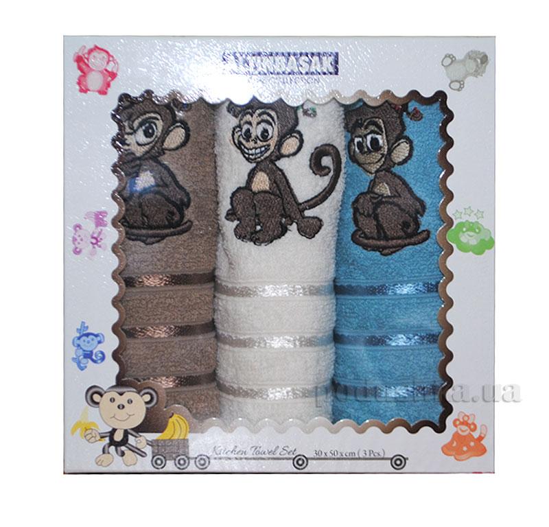 Набор махровых полотенец в коробке Altinbasak Sapkali Maymunlar