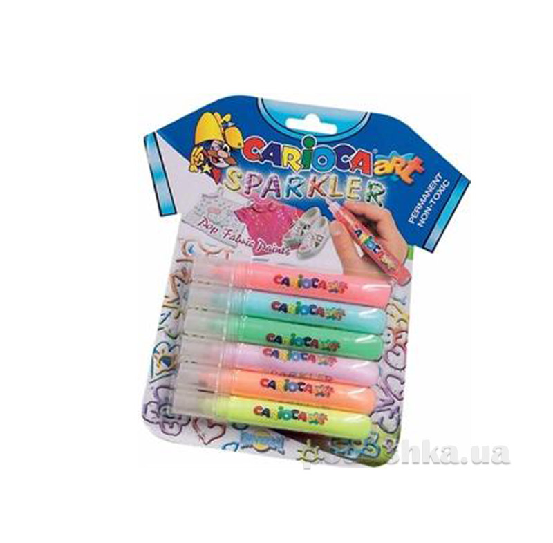 Набор объемных красок с блестками для ткани 6 шт Carioca 42132