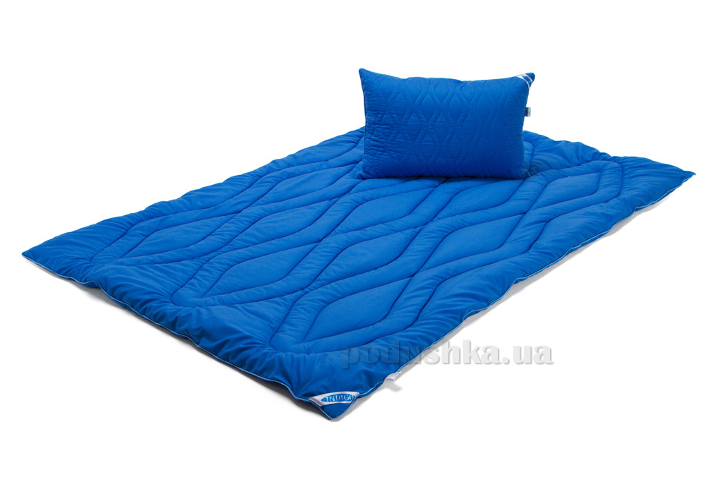 Набор одеяло демисезонное и подушка Руно микрофибра Индиго