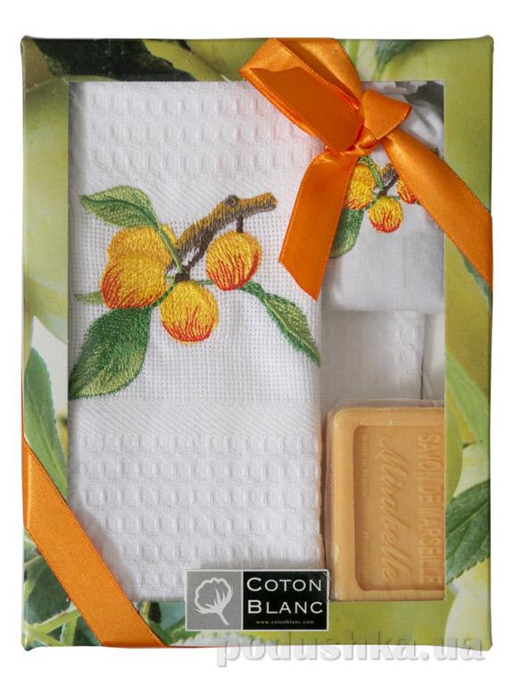 Набор подарочный Coton blanc белый (полотенце, мешочек с лавандой, мыло)