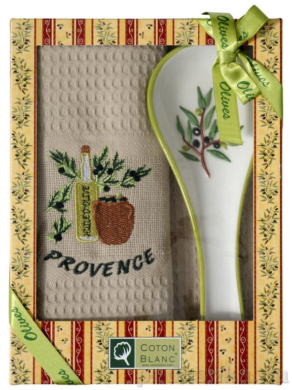 Набор подарочный Coton blanc бежевый (полотенце, ложка) 100014