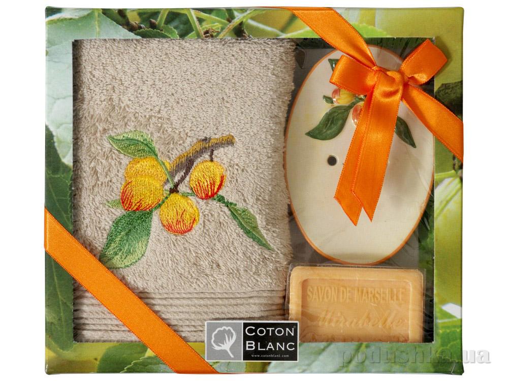 Набор подарочный Coton blanc бежевый (полотенце, мыльница, мыло) 100018
