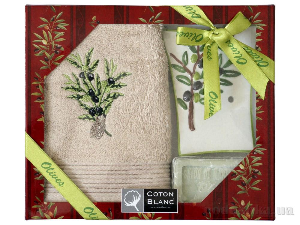 Набор подарочный Coton blanc бежевый (полотенце, мыльница, мыло) 100031