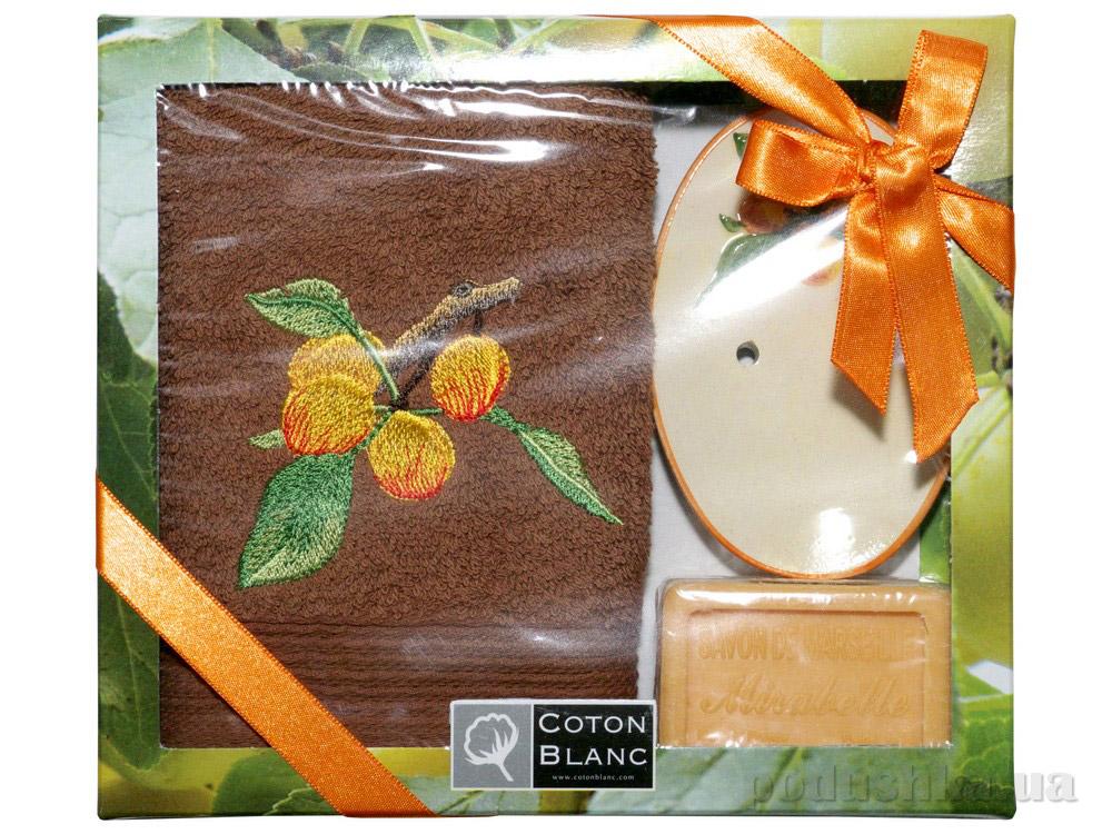 Набор подарочный Coton blanc коричневый (полотенце, мыльница, мыло) 100020