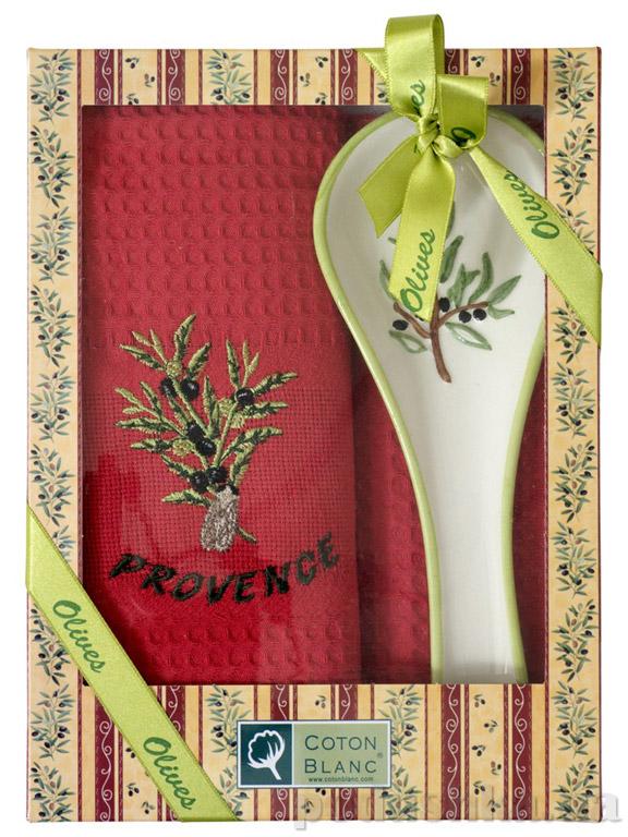 Набор подарочный Coton blanc красный (полотенце, ложка) 100012