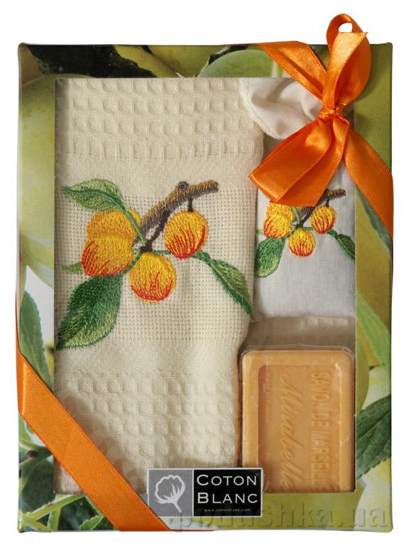 Набор подарочный Coton blanc кремовый (полотенце, мешочек с лавандой, мыло)