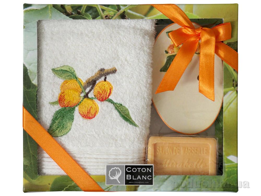 Набор подарочный Coton blanc кремовый (полотенце, мыльница, мыло) 100017