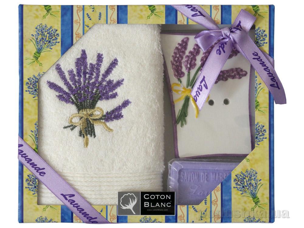 Набор подарочный Coton blanc кремовый (полотенце, мыльница, мыло) 100027