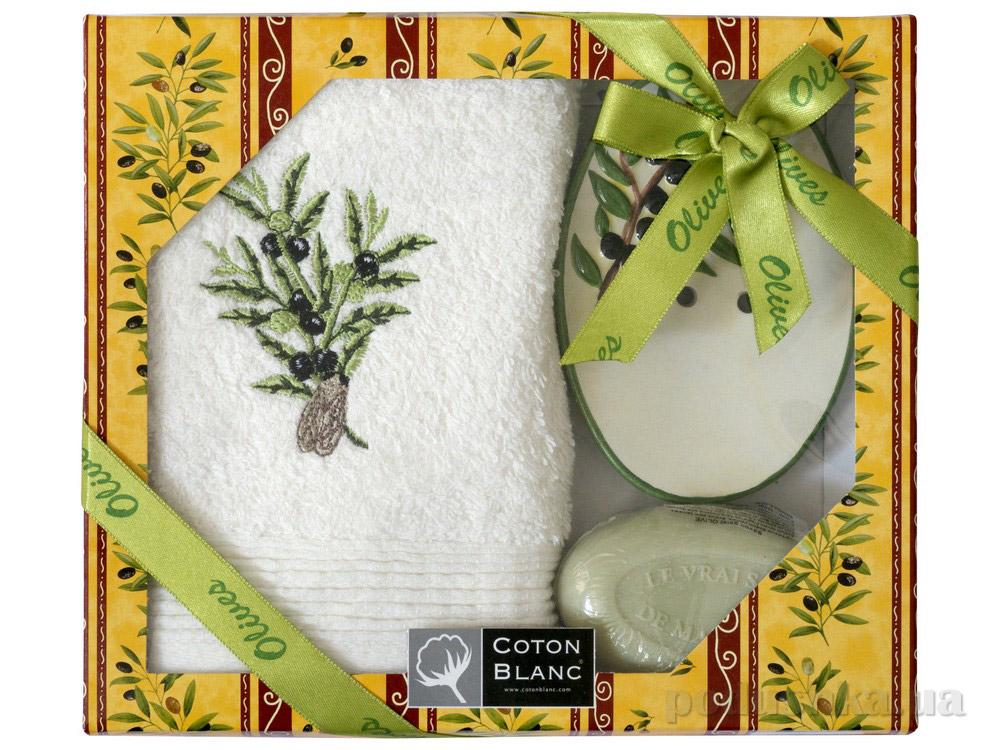Набор подарочный Coton blanc кремовый (полотенце, мыльница, мыло) 100029