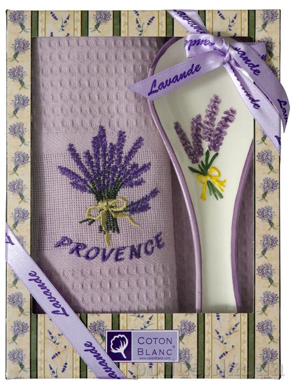 Набор подарочный Coton blanc лиловый (полотенце, ложка) 100006