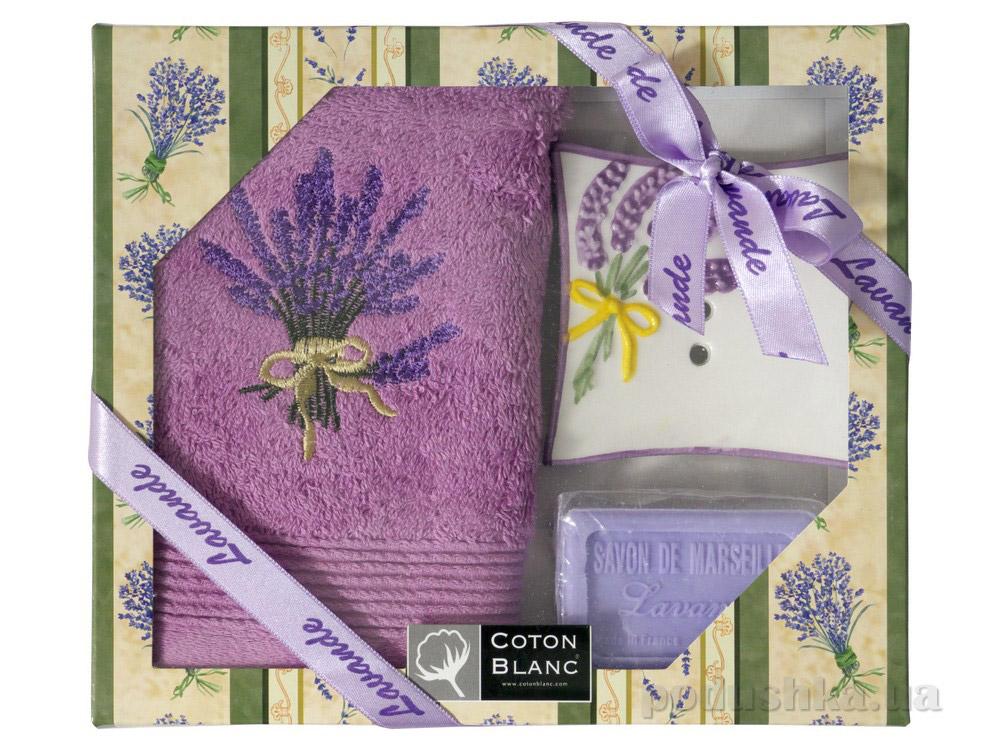 Набор подарочный Coton blanc лиловый (полотенце, мыльница, мыло) 100025